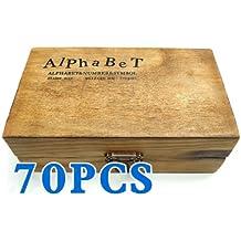 BeautyLife 70pcs Rubber Stamps Vintage Wooden Box Case Alphabet Letters Number Craft
