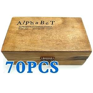 BeautyLife - Set di 70 timbri in gomma e legno, con lettere dell'alfabeto e numeri, in valigetta vintage in legno