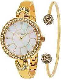 So & Co New York Mujer 5296. Set. 2 cuarzo oro tono caso blanco madre de perla Dial Oro Tono brazalete reloj de pulsera