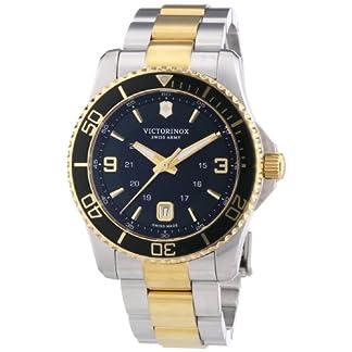 Victorinox Maverick – Reloj de Cuarzo para Hombre, con Correa de Acero Inoxidable, Color Plateado