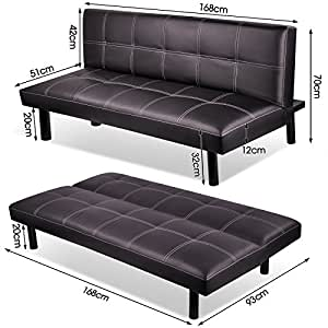 Popamazing Faux Leather Foldable Sofa Bed Seat Sponge Cushion Couch Futon Sofabed 168cm x 93cm x 32cm/66 x 36.6 x 12.6(Bed-L&W&H), Brown