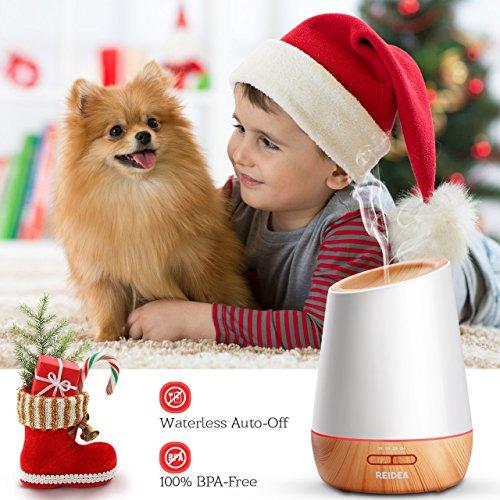 Aroma Diffuser REIDEA 500ml Ultraschall Öl Diffusor Leise Aromatherapie Luftbefeuchter LED mit 7 Farben für Baby, Kinderzimmer, Wohnzimmer, Schlafzimmer, Büro, Yoga, Spa, Große Räume, Weiß