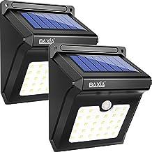 BAXiA 28 LED Lámparas Solares, Luces de Exterior con Sensor de Seguridad por Movimiento Inalámbricas y con Batería Solar Exterior para Jardín, Patio, Terraza, Inicio, Camino, Escalera Exterior