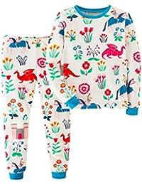 Mooler Unisex Cartoon und Blumendruck Baumwolle langarm Loungewear nette Nachtwäsche