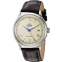 Orient de hombre de 2ª Gen Bambino ver. 2'japonés automático reloj vestido de cuero y acero inoxidable, color: marrón (modelo: fac00009N0)