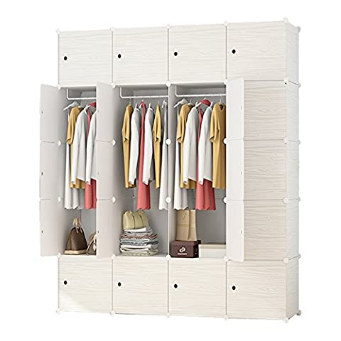 ETTBJA DIY Plastic Wardrobe Portable Wooden Pattern Closet With Doors Storage Design your own(20 Cubes With 4