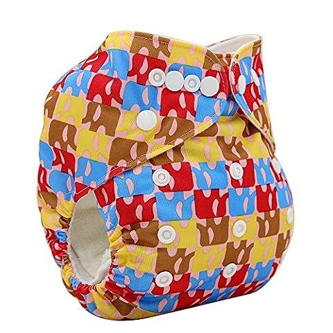 OHBABYKA Printed Design Reuseable Washable Pocket Cloth Diaper 1 Inserts (Elephant-01)