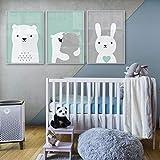 SHINERING Chambre de bébé Nordic Style Enfants Décoration Bunny Ours Affiche Mur...