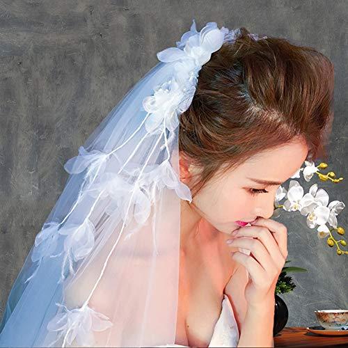 MLYC Damen Short 2T 2 Tier Lace Edge Fransen Stil Hochzeit Brautschleier mit Kamm -
