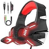 VersionTECH. Cuffie gaming per PS4 con microfono pieghevole, audio surround, luce LED, cancellazione del rumore, fascia imbottita. Compatibile con PS4/PC/Xbox One/PSP/smartphone/tablet