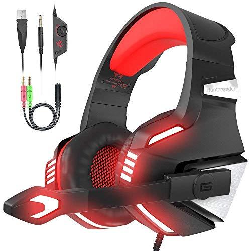 VersionTECH. Cuffie gaming per PS4 con microfono pieghevole audio surround luce LED cancellazione del rumore fascia imbottita. Compatibile con