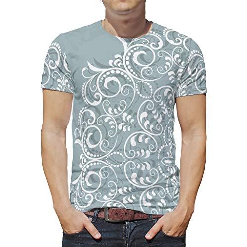O4EC2-8 Mann Herren Bohimia T-Shirts Student Shirt, Hellgrüner Mandela Schatz-Outfit - Mandela Kunst Muster gedruckt Runder Kragen Hemd White XL