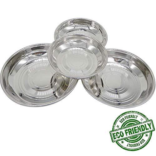 Ensemble de 4 plaques de design rondes en acier inoxydable, assiettes rondes de vaisselle, assiette à dîner, couleur argentée taille 5,6 x 5,6 pouces, jour de Pâques/fête des mères/cadeau du vendredi