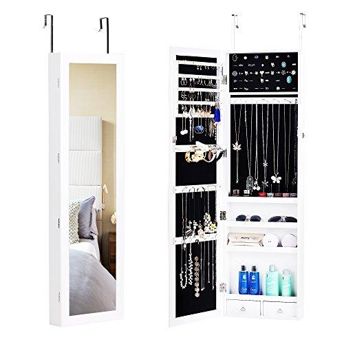 BASTUO Hängend Schmuckschrank Spiegelschrank Türmontage/Wandmontage abschließbarer Schmuckorganizer mit 2 Schubladen und 3 Höhenverstellbarkeit, weiß -
