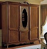 Dafnedesign.com Kleiderschrank, 3 Türen, 1 Schublade mit 3 Schubladen, kein Spiegel 240 x P. 67 x L 229, 180Kg, 1,90 Mc/M3, Nr.colli 7 Gestell: Tamburin mit Fichten-Furnier mit Nussbaum und anig-nussbaum - Ablagefläche: Tamburin mit Fichtenholzgestell aus Furnier mit Nussbaum oder Anigrè.100 % Made in Italy (F4)