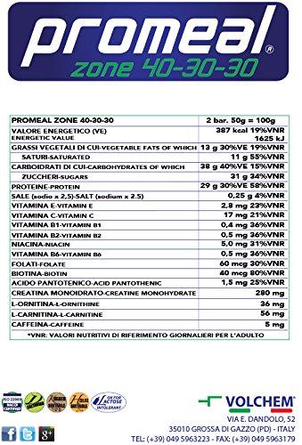 VOLCHEM PROMEAL ZONE 40-30-30 -BARRETTA DIETA A ZONA- barretta da 50 gr gusto CACAO - 51KZLLjRORL