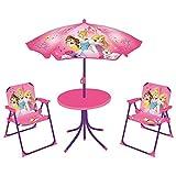 Fun House 712348 DISNEY PRINCESSES Salon de Jardin pour Enfant avec 1 table, 2 chaises et 1 parasol