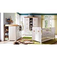 Preisvergleich für Babyzimmer Einrichtung Komplettset Malmö 7-teilig Kiefer massiv weiß