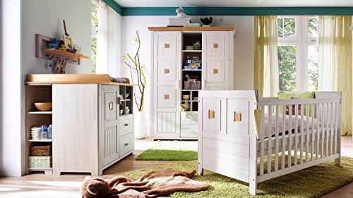 Babyzimmer Einrichtung Komplettset Malmö 7-teilig Kiefer massiv weiß (weiß/Antik natur)