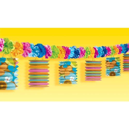 Girlande Blumen mit Uni und Bedruckte Lampions 365cm