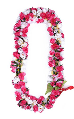 Hawaiian-Luau-Fiesta-Kapiolani-Tuberosa-Tela-Artificial-Flor-Lei-Rosa-Blanco