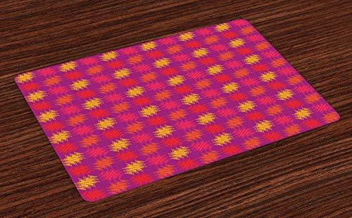 Stamm Quadratischen Form (ABAKUHAUS Boho Platzmatten, Hand gezeichnet quadratische Form mit traditioneller Stammes-Zusammensetzung UREINWOHNER-Motiven, Tiscjdeco aus Farbfesten Stoff für das Esszimmer und Küch, Mehrfarbig)