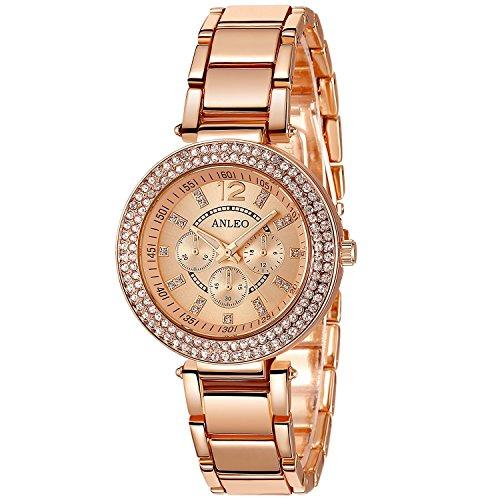 Anleo 2015 neue Digtal-,Quarz-,Fashionable-,Volltonfarbe Damenuhr mit Double-layer künstlich Diamenten und Gebohrte Legierung Zeiger Rose-gold