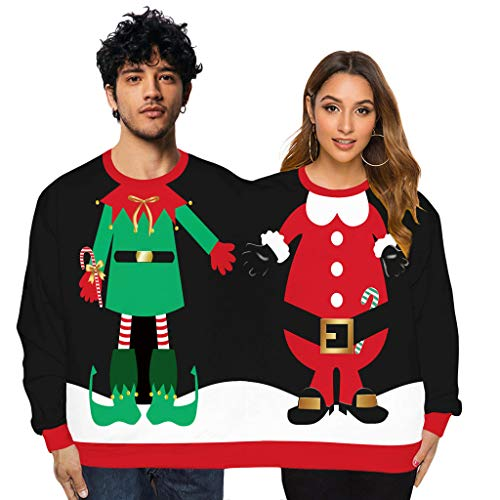 Couples Santa and Elf Christmas Jumper for Two