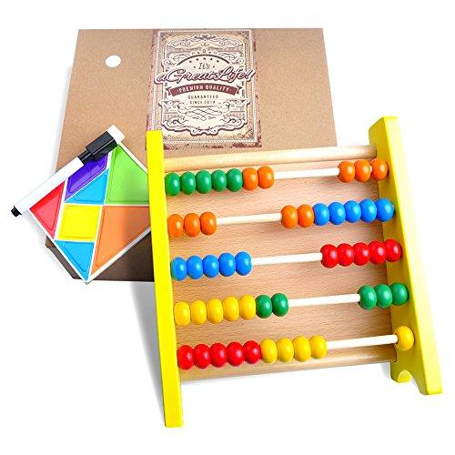 Abacus-Bildungs-Spielzeug für Kinder mit magnetischen Puzzle Aktivität: Beste zählen Anzahl Rahmen mit bunten und Kindersichere Holzperlen - Perfekte Mathe Tool für Kleinkinder (Melissa Und Doug Alphabet-puzzle)
