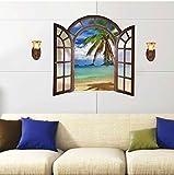 Wandsticker Palmen Urlaub Strand Meer im Fenster Wandbilder Wandtattoos selbstklebend Dekoration für Zimmer