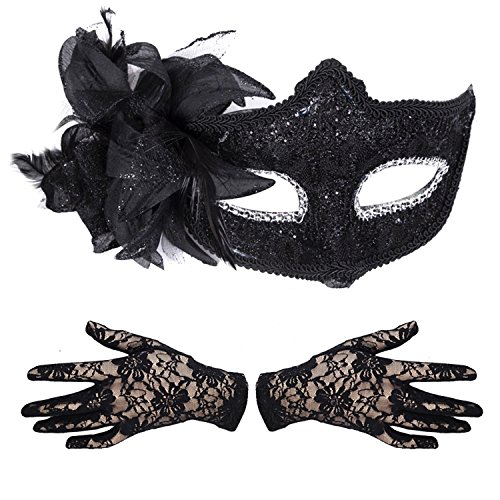 Damen / Mädchen Deluxe Masquerade Halloween Kostüm - Glitzer Masken & Spitzen-handschuh Sets - Schwarz