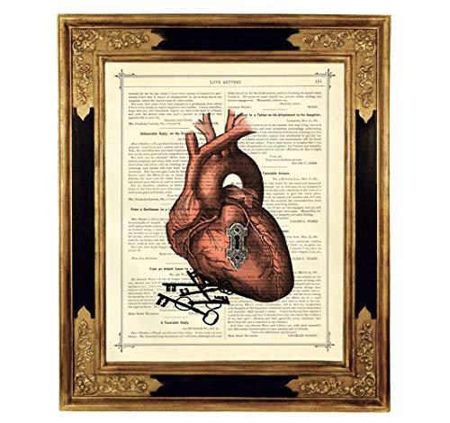 Schlüssel zum Herz Liebesschloss Kunstdruck auf antiker Buchseite Gothic Geschenk Hochzeit Valentinstag Bild Poster Steampunk ungerahmt