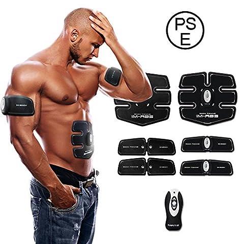 IMATE ABS Muscle Entraîneur Intelligent Sans Fil, Portable EMS Tonifiant Ceinture pour les Hommes et les Femmes Paresseux - 15 Intensité de la Formation (White)