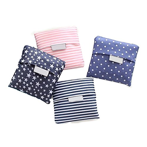 Kaxich 4 Pack Foldable Shopping Bags Reusable Eco-Friendly Grocery Tote Bags Shopper Bag Folding into Attached Pouch (Random Color)