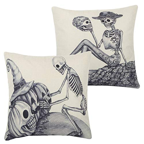 Lewondr Halloween Throw Pillow Case, 2 Pack Solid Color Spooky Pattern Square Festive Throw Pillow Cover with Hidden Zipper for Car Sofa Bed Home Decoration 18 x 18 Inch - Skeleton