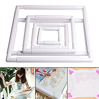 SODIAL Handheld Square Shape Embroidery Plastic Frame Hoop Cross Stitch Craft DIY Tool