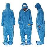 Mono de forro polar azul, Calle Sésamo, unisex, Onesie, para disfraz o pijama, con capucha., azul, L?Height 66.5-70 Inch)