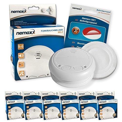 6x Nemaxx WL2 Funkrauchmelder Rauchmelder Brandmelder Set Funk koppelbar vernetzt - nach EN 14604 + 6x Nemaxx NX1 Quickfix Befestigungspad