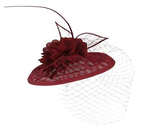 GEMVIE Mujer Tocado Clip de Pelo Adorno Boda Fiesta Tea Party Sombrero Vintage 26×22×16cm Granate