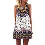 Vintage Sommerkleid Frauen SUNNSEAN Damen Digitaldruck Drucken Rundhals Strandkleider Mode Weste Kleid Schicke Kleider Elegante Sommerweste Kleider (S, Weiß)