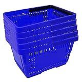 5 Einkaufskörbe aus Kunststoff Plastik mit Henkel 20 Liter 40cm stapelbar blau