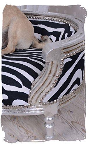 Majesttisches-Hundebett-Hundesofa-Katzenbett-Katzensofa-Tierbett-Marie-Antoinette-mit-kniglichem-Ambiente-im-Rokoko-Stil-in-Silber-mit-Zebramuster-Palazzo-Exclusive