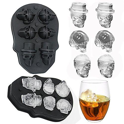 Fellibay Totenkopf Form Eiswürfelformen Ice Cube Tabletts 3D Silikon Ice Cube Form Kinder Halloween Geschenke 6 Totenkopf schwarz (Halloween Formen Schwarze)