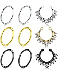 VFUN Falso Piercing Nariz Anillo Septum Piercing Oreja Helix Tragus Cartilago Non-Pierced Clip On