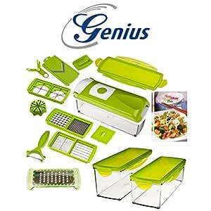 Neuf genius nicer dicer plus set coupe l gumes vert r servoir 17 pi ces cuisine - Nicer dicer coupe legumes ...