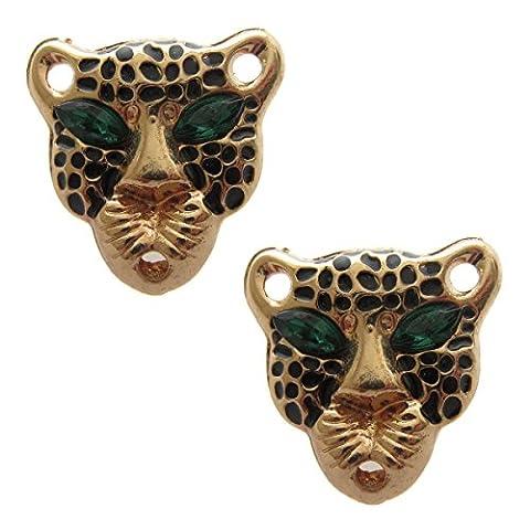Pick A Gem Boucles d'oreilles tête de léopard or pour