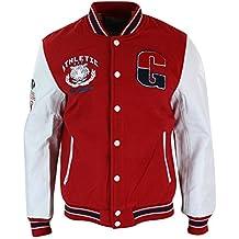 4b8560dd8afbc ox king Blouson Homme Style USA Baseball Doublure Molleton Badges et  Manches Cuir PU