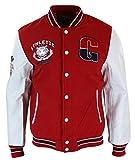 Oxking Herrenjacke PU Leder Ärmel Schwarz Rot Weiß Blau Varsity College Baseball Design