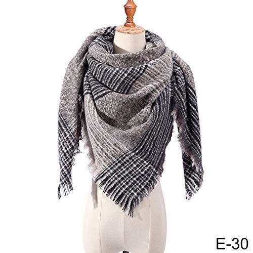 HAZVPO Winter Dreieck Schal Für Frauen Plaid Warmer Schal Strickschals Weibliche Schals-30
