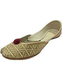 Step n Style Sherwani zapatos hecho a mano tradicional Khussa JUTTI Rajasthani Mojari, color Blanco, talla 42